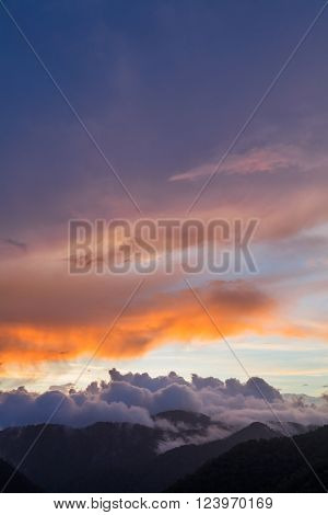 Dramatic cloudscape sunset in Troodos mountains, Cyprus