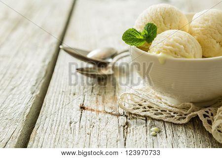 Vanilla ice cream in white bowl, copy space