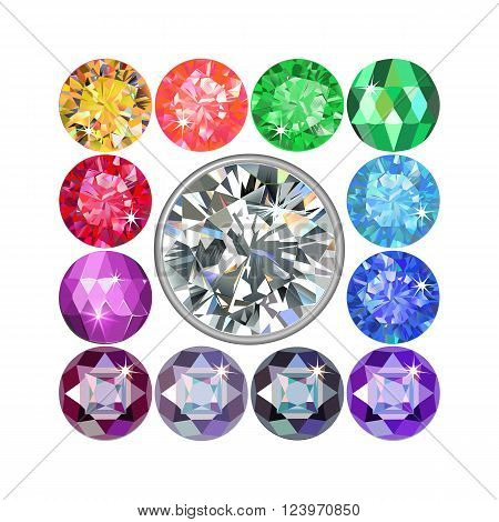Platinum rim diamond encased in a squared frame of precious stones isolated on white background vector illustration