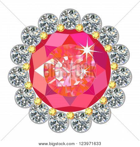 Ruby round brooch encased in a frame of diamonds isolated on white background vector illustration