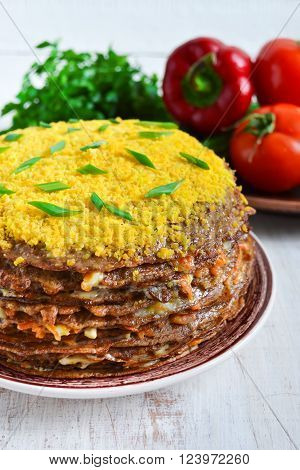 Liver cake cake of liver pancakes stuffed with carrots