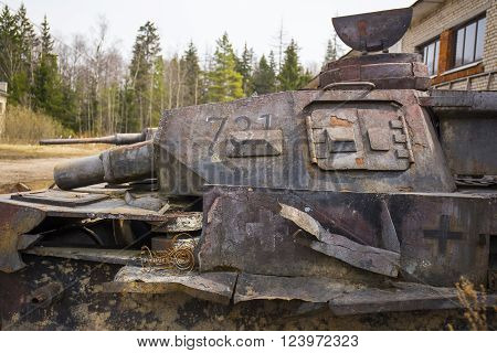 Destroyed german old tanks of ww2 time period
