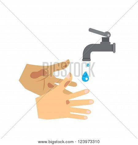 Flat vector of washing hand and faucet.