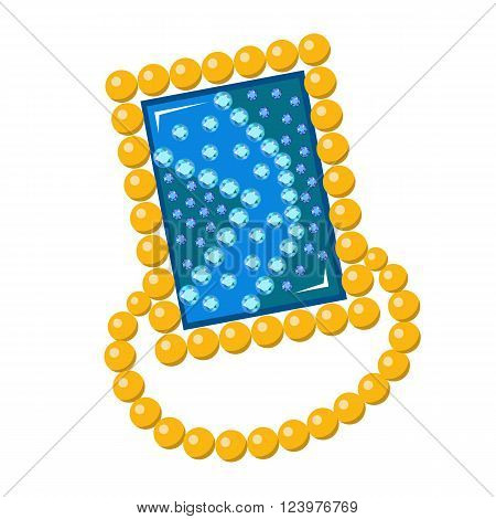 Gemstone golden rim brooch isolated on white background vector illustration
