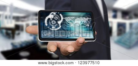 Young Man Using Modern Mobile Phone