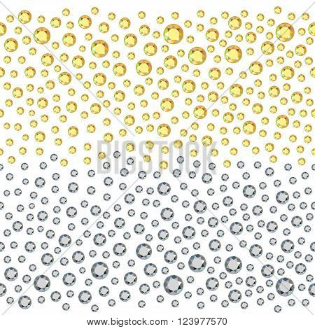 Seamless scattered golden & silver rhinestones isolated on white background vector illustration