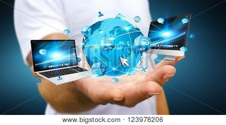 Businessman Connecting Tech Devices