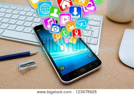 Modern Mobile Phone With Icons