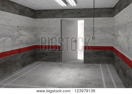 Illustration Of Empty Room With Open Door