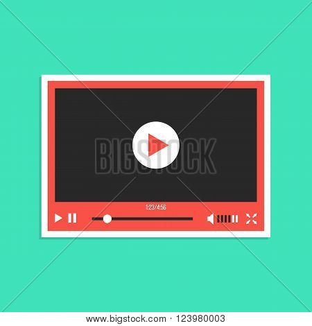 white and red video player interface sticker. concept of streaming television, communication, tv clip, motion filmstrip. isolated on green background. flat style modern design vector illustration