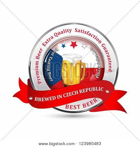 Brewed in Czech Republic - Premium Beer, Satisfaction Guaranteed ribbon advertising for pubs, clubs, restaurants and breweries. Contains beer mug and the Czech Republic flag on the background