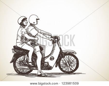 Sketch of couple on motorbike, Hand drawn vector illustration