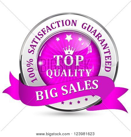 Big Sales. Satisfaction guaranteed. Top Quality. Metallic purple glossy shiny icon / button with ribbon.