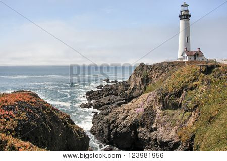 PESCADERO, CA - APRIL, 9 2014: Pigeon Point Lighthouse in springtime, April 9, 2014, in Pescadero, California.