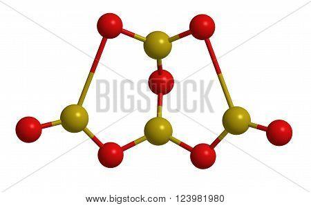 Molecular structure of borax (sodium borate) - borone compound, 3D rendering