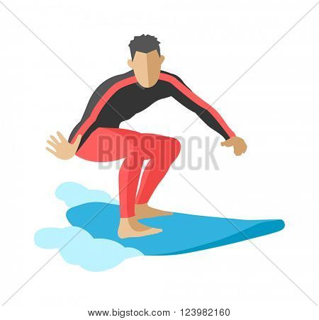 Surfer blue ocean wave getting barreled surfing water extreme sport character vector.