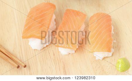 Fresh Japanese Salmon Sushi