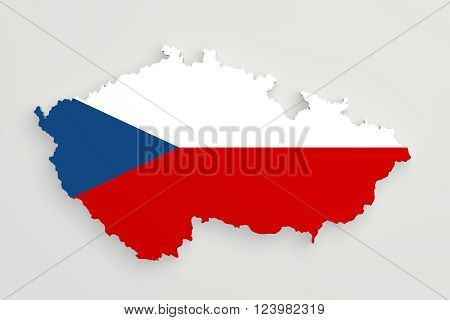 Silhouette Of Czech Rep. Map With Flag