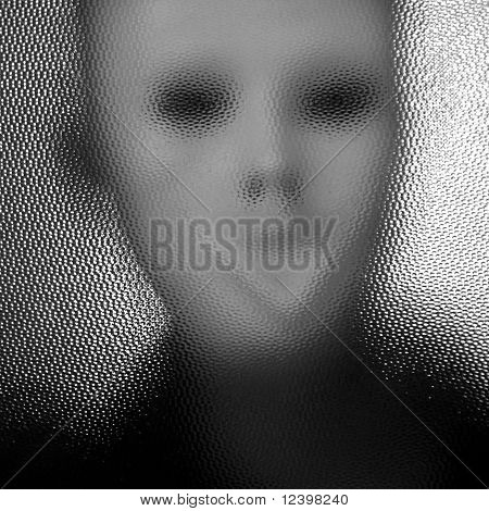 Masked Figure Behind Glass