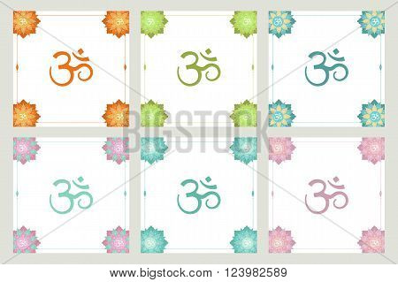 Ethnic decorative frames with om symbol, oriental indian style. Set of frames with lotus flowers, mandalas. Perfect for design of yoga, spa, meditation practice invitations, greetings card, flyers