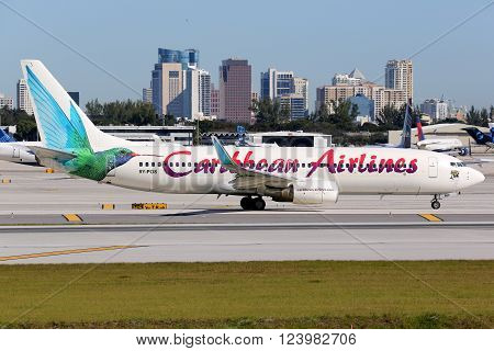 Caribbean Airlines Boeing 737-800 Airplane Fort Lauderdale Airport