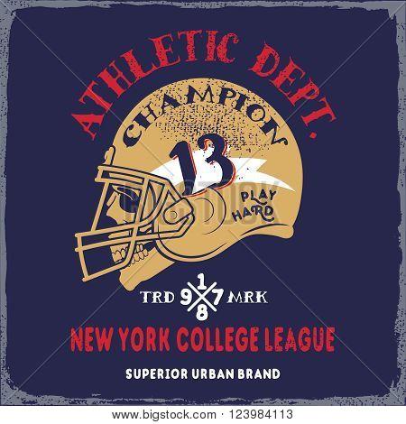 American football helmet, skull on grunge background.Typography t-shirt design for apparel.