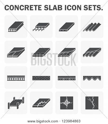 Concrete slab vector icon sets design on white.