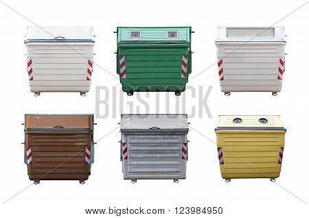 different garbage containers isolated on white background