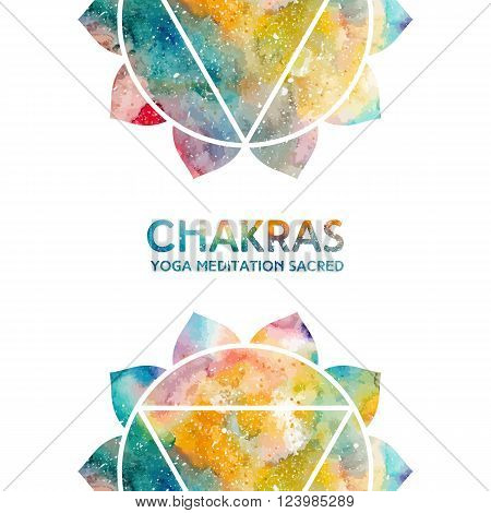 Vector background. Watercolor manipura chakra on white background, colorful elements, bright texture. Perfect for yoga, spa, meditation practice, ayurveda invitations, greetings