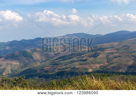 mountain in Phu Lom Lo at viewpoint, Loei, Thailand