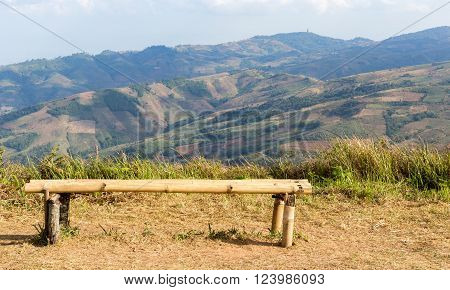 mountain in Phu Lom Lo at viewpoint with bamboo seats Loei Thailand