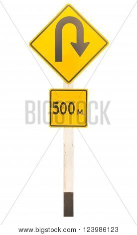 u-turn traffic signage isolated on white background with clipping path