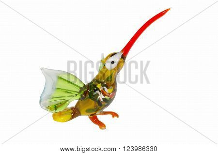 glass hummingbird figurine on a white background