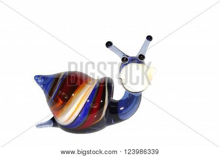 glass figurine of a snail on a white background