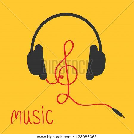 Headphones with treble clef red cord and word Music. Card. Flat design icon. Yellow background. Vector illustration