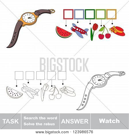 Vector rebus game for children. Find solution and write the hidden word Watch