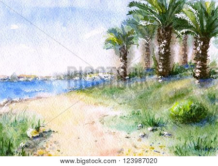 Hand drawn watercolor illustration. Nature landscape. Sketch of tropical view with palm trees green grass and sea coast.