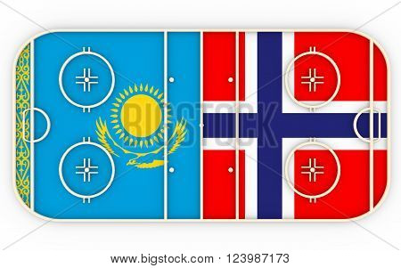Kazakhstan vs Norway. Ice hockey competition 2016. National flags on playground. 3D rendering