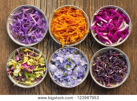 a set of fresh and colorful dried flower petals. aromatherapy herbal tea homeopathic medicine