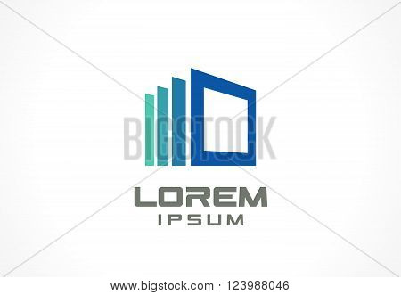 Icon design element. Abstract logo idea for business company. Construction, house, frame, windows, technology, internet concepts.  Pictogram for corporate identity template. Stock Illustration Vector