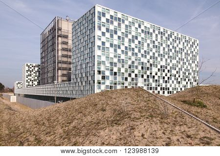 The Hague Netherlands - March 27 2016: The International Criminal Court at the new 2015 opened ICC building.