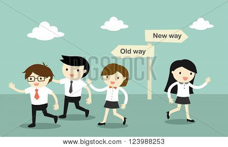 Business concept, A group of business people walking to the old way, but business another woman walk to the new way. Vector illustration.