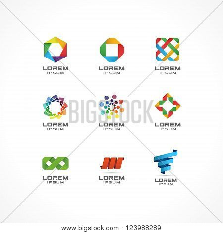 Set of icon design elements. Abstract logo ideas for business company. Internet,  communication, technology, geometric concepts.  Pictograms for corporate identity template. Stock Illustration Vector