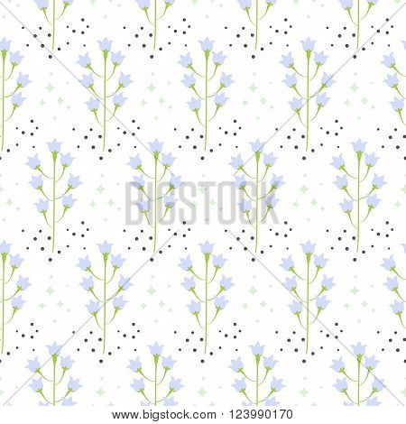 Wild pastel bluebell flower spring field seamless pattern. Floral tender fine summer vector pattern on white background. For fabric textile prints and apparel.