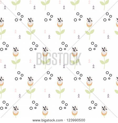 Wild flower spring field seamless pattern. Floral tender fine summer vector pattern on white background. For fabric textile prints and apparel.
