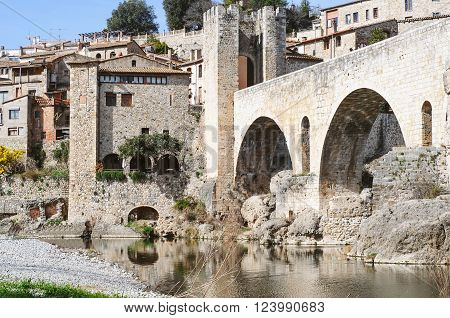 Landscape of the ancient town of Besalú in Spain, Catalonia
