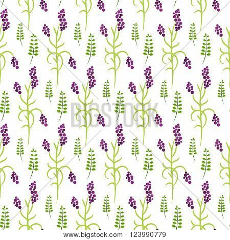 Wild flower purple plant spring field seamless pattern. Floral tender fine summer vector pattern on white background. For fabric textile prints and apparel.