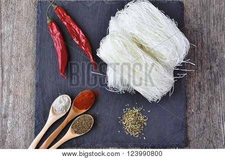 Dried Rice Noodles, asian food, Noodles with spices