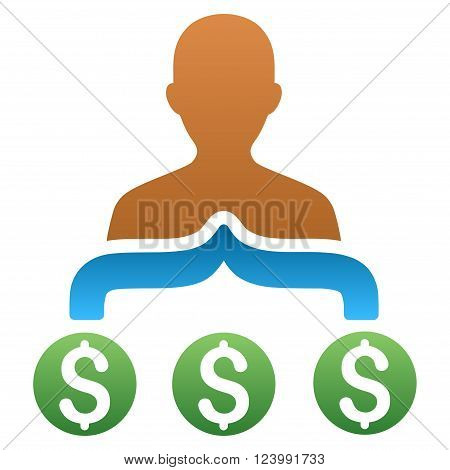 Capitalist Collect Money vector toolbar icon for software design. Style is a gradient icon symbol on a white background.