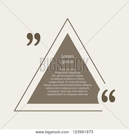 Quotation mark speech bubble. Empty quote blank citation template. Triangle design element for business card, paper sheet, information, note, message, motivation, comment etc. Vector illustration.